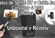Palos selfie y Cargador 4 usb Aukey princi