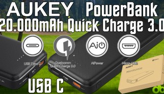 Aukey PowerBank 20000 mah usb c quick charge 3 princi